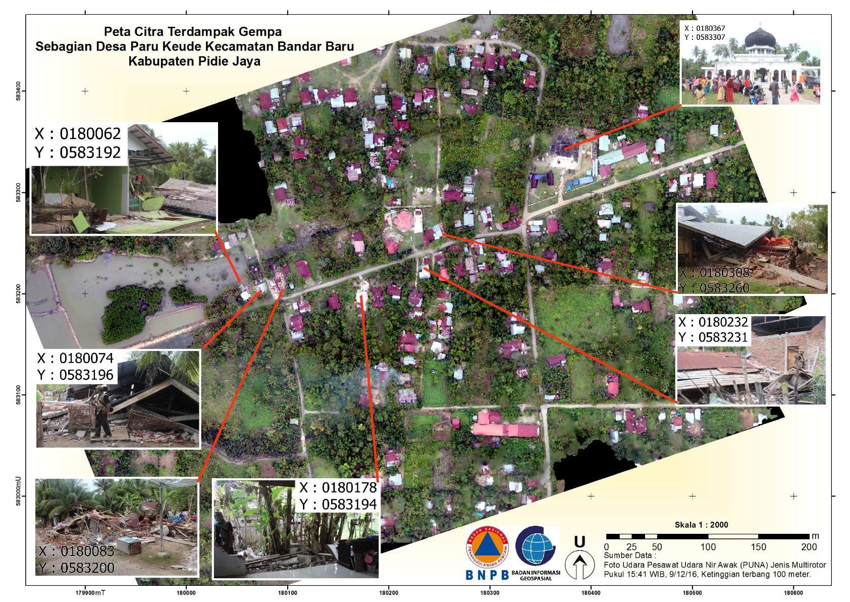 Peta dampak bencana gempa bumi sebagian Desa Paru Keude, Bandar Baru, Pidie Jaya