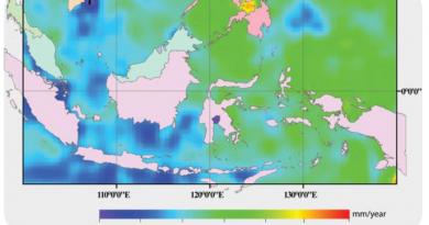 Gambar 1. Kenaikan muka air laut Indonesia berdasarkan altimeter tahun 1993-2008 (Sofian dan Wijanarto, 2008)